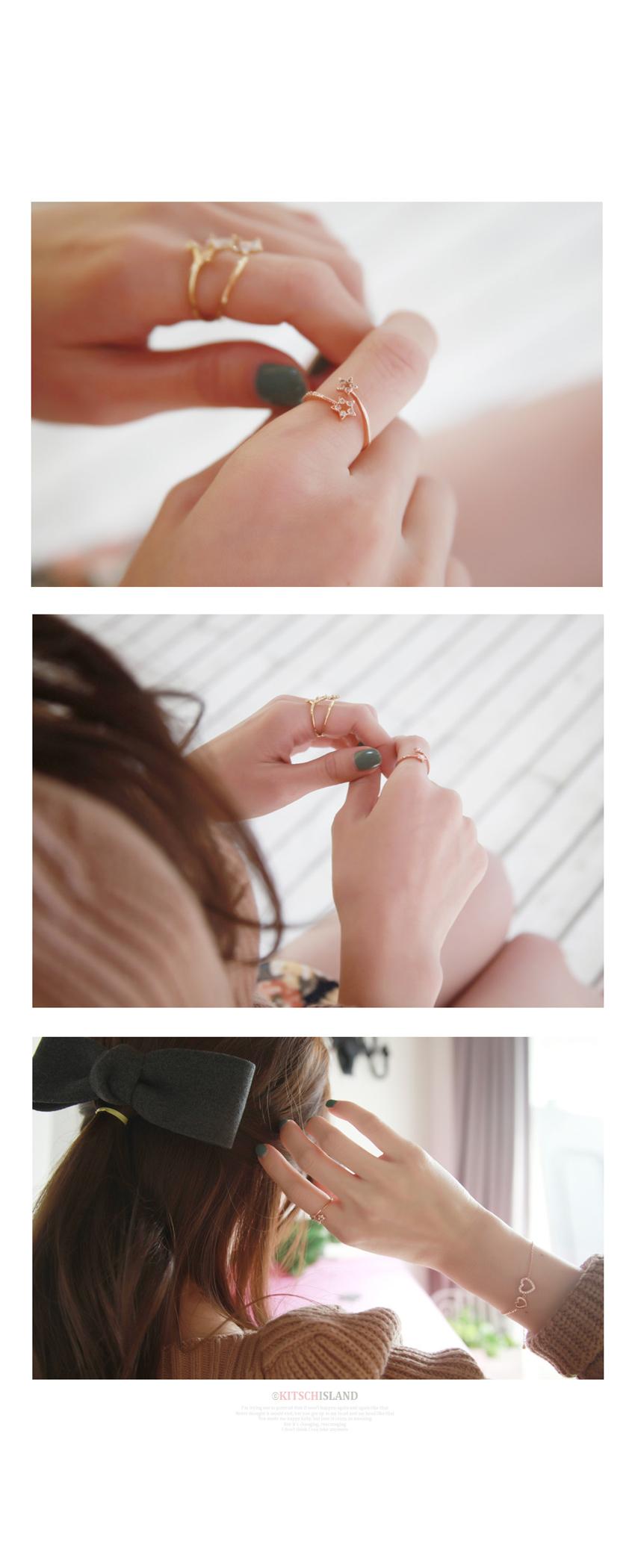 아름드리 별 더블 큐빅 반지 - 키치아일랜드, 7,500원, 패션, 패션반지