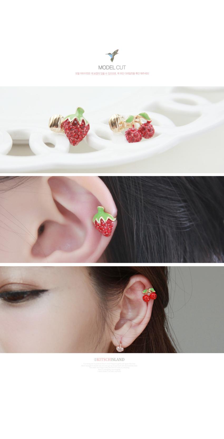 체리딸기 귀찌 - 키치아일랜드, 5,500원, 실버, 볼귀걸이