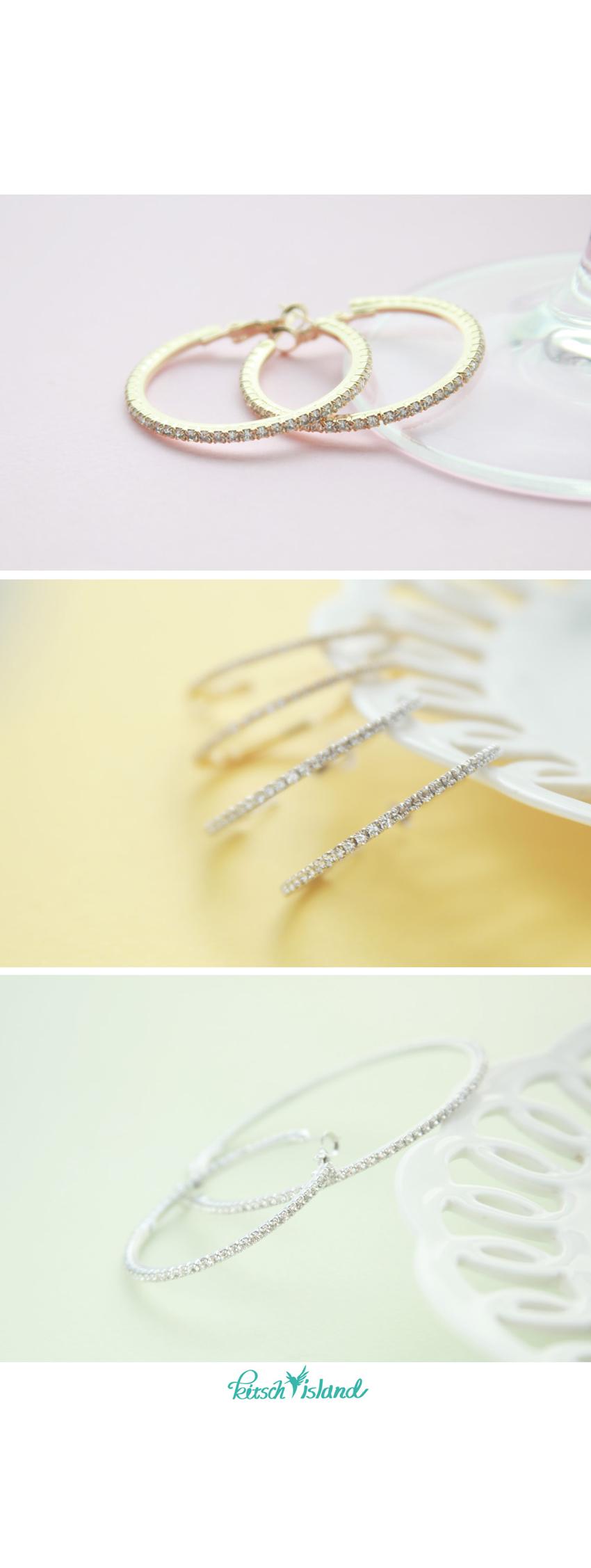 빛솔 큐빅 은(Silver) 링귀걸이4cm 5cm 6cm 7cm - 키치아일랜드, 11,000원, 실버, 링귀걸이