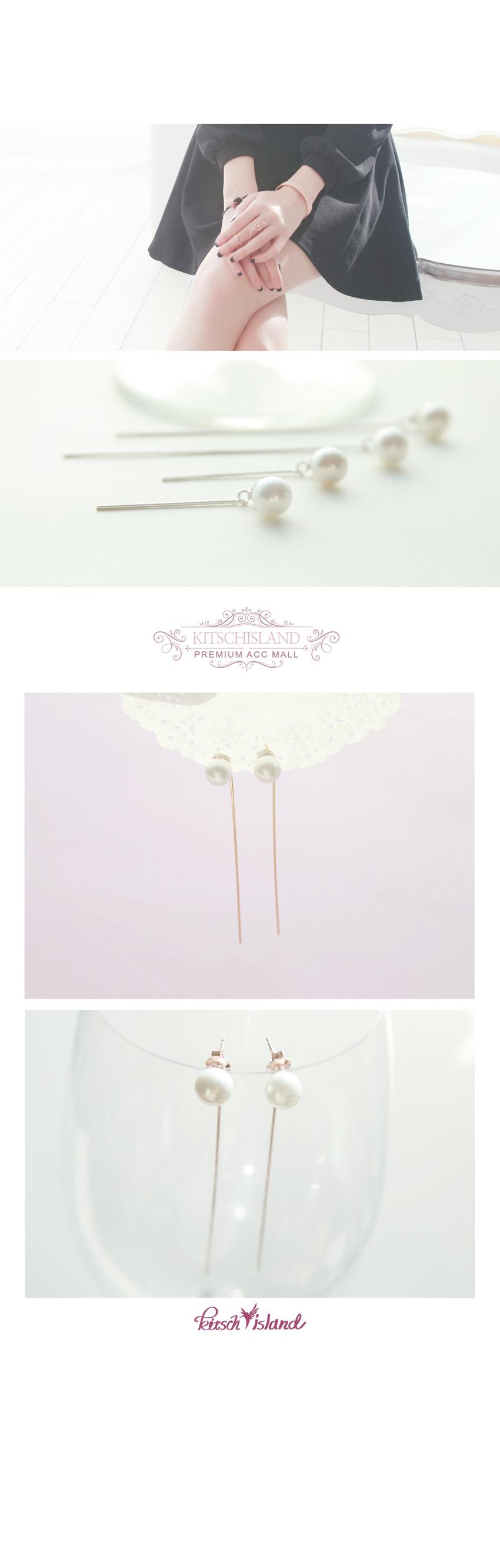 진주 스트레이트 클러치 귀걸이 3cm 7cm 전체 프레임 은(Silver) 92.5 - 키치아일랜드, 13,000원, 실버, 드롭귀걸이