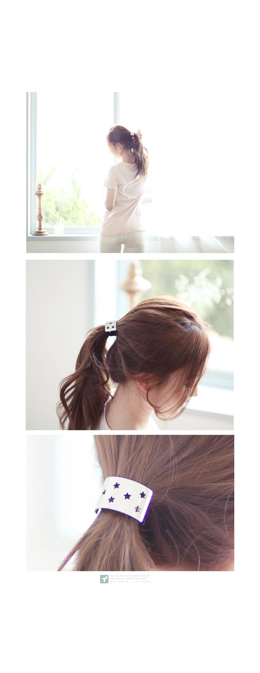 별 펀칭 메탈 머리끈 - 키치아일랜드, 4,000원, 헤어핀/밴드/끈, 헤어핀/끈
